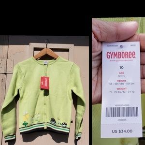 NEW $34 girls GYMBOREE turtle sweater cardigan 10